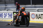 In this photo provided by the NHRA, Pro Stock Motorcycle racer Ryan Oehler makes his way to his first career win on Sunday, July 12, 2020, as he defeats Matt Smith in the final round at the E3 Spark Plugs NHRA National in Indianapolis. (Richard H. Shute/NHRA via AP)