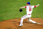 Philadelphia Phillies' David Phelps pitches during the sixth inning of the second baseball game in a doubleheader against the Boston Red Sox, Tuesday, Sept. 8, 2020, in Philadelphia. (AP Photo/Matt Slocum)