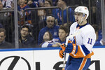 New York Islanders left wing Shane Prince reacts after scoring a goal during the first period of an NHL hockey game New York Rangers, Saturday, Jan. 13, 2018, at Madison Square Garden in New York. (AP Photo/Mary Altaffer)