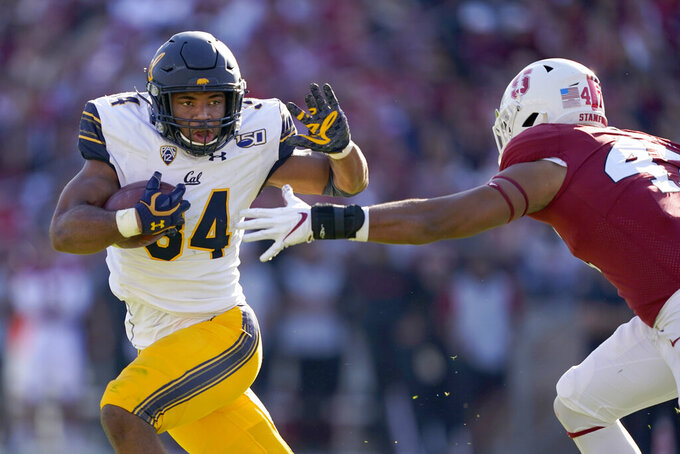 California running back Christopher Brown Jr. (34) rushes against Stanford linebacker Tangaloa Kaufusi (47) during the first half of an NCAA college football game Saturday, Nov. 23, 2019 in Stanford, Calif. (AP Photo/Tony Avelar)