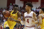 Maryland's Jalen Smith (25) goes to the basket against Indiana's Trayce Jackson-Davis (4) during the second half of an NCAA college basketball game, Sunday, Jan. 26, 2020, in Bloomington, Ind. (AP Photo/Darron Cummings)