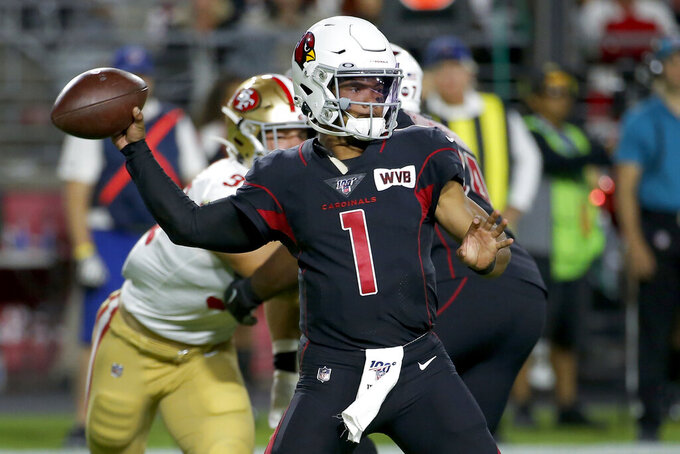 Arizona Cardinals quarterback Kyler Murray (1) throws against the San Francisco 49ers during the first half of an NFL football game, Thursday, Oct. 31, 2019, in Glendale, Ariz. (AP Photo/Rick Scuteri)