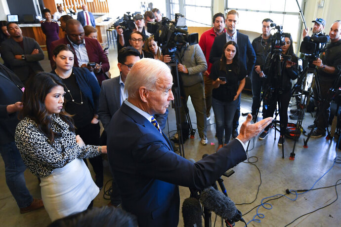Former Vice President and 2020 Democratic presidential candidate Joe Biden speaks to the media while during a visit with an assembly of Southern black mayors Thursday, Nov. 21, 2019 in Atlanta. (AP Photo/John Amis)