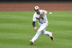 Baltimore Orioles left fielder Trey Mancini makes a running catch on a ball hit by Philadelphia Phllies' Rys Hoskins in the third inning of baseball game, Wednesday, May 16, 2018, in Baltimore. (AP Photo/Gail Burton)