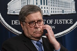 Attorney General William Barr speaks to reporters at the Justice Department in Washington, Monday, Jan. 13, 2020, to announce results of an investigation of the shootings at the Pensacola Naval Air Station in Florida. On Dec. 6, 2019, 21-year-old Saudi Air Force officer, 2nd Lt. Mohammed Alshamrani, opened fire at the naval base in Pensacola, killing three U.S. sailors and injuring eight other people. (AP Photo/J. Scott Applewhite)