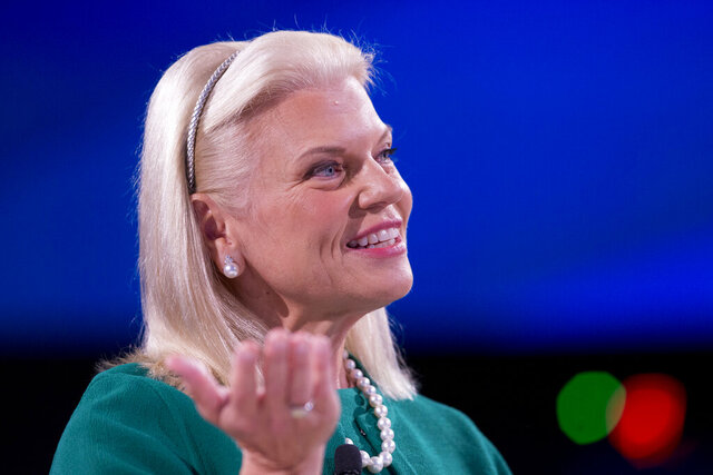 FILE - In this Wednesday, Sept. 26, 2018 file photo, Ginni Rometty, Chairman, President, and CEO of IBM, speaks at the Bloomberg Global Business Forum in New York. Ginni Rometty is stepping down after nearly 40 years with the computing giant and eight years at its helm. The company said Thursday, Jan. 30, 2020 that Arvind Krishna will take over as CEO starting April 6 . (AP Photo/Mark Lennihan, File)