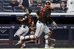 Baltimore Orioles third baseman Ramon Urias drops a foul ball hit by New York Yankees' Anthony Rizzo during the sixth inning of a baseball game Friday, Sept. 3, 2021, in New York. (AP Photo/Adam Hunger)