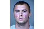 This booking provided by the Maricopa County, Ariz., Sheriff's Office shows Mark Gooch, an Air Force airman, who was arrested Tuesday, April 21, 2020, in the death of Sasha Krause, a Mennonite woman whose body was found off a forest road in northern Arizona two months ago, authorities said. (Maricopa County Sheriff's Office via AP, File)