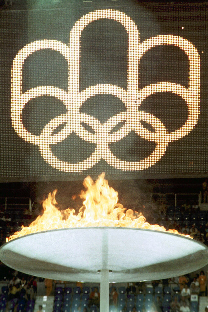 FILE - In this July 17, 1976, file photo, the Olympic Flame during the 1976 Montreal Summer Olympic Games. (AP Photo/File)