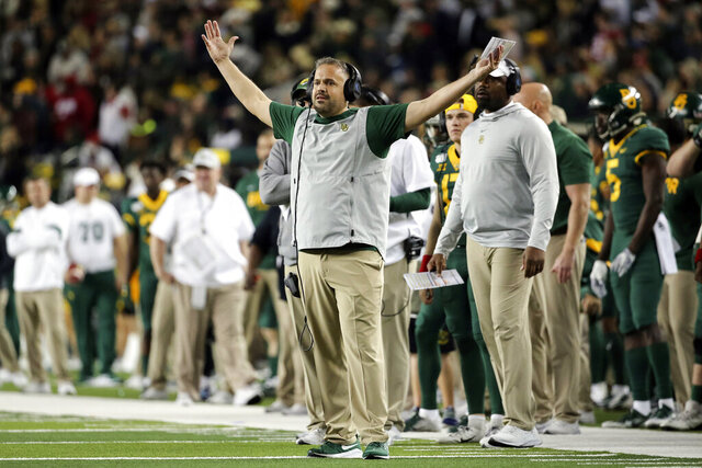 Baylor head coach Matt Rhule yells from the sideline during the first half of an NCAA college football game against Oklahoma in Waco, Texas, Saturday, Nov. 16, 2019. (AP Photo/Ray Carlin)
