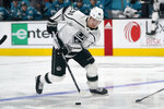 Los Angeles Kings left wing Carl Grundstrom skates against the San Jose Sharks during the second period of an NHL hockey game in San Jose, Calif., Monday, March 22, 2021. (AP Photo/Jeff Chiu)
