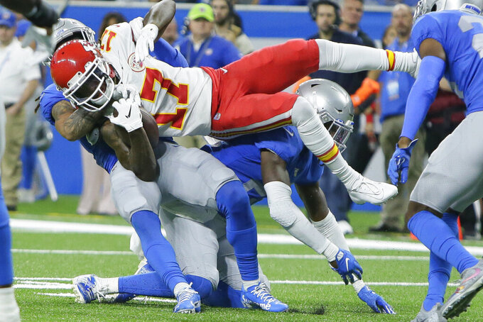 Kansas City Chiefs wide receiver Mecole Hardman (17) is tackled during the first half of an NFL football game against the Detroit Lions, Sunday, Sept. 29, 2019, in Detroit. (AP Photo/Duane Burleson)