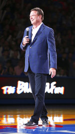 In this Friday, Oct. 4, 2019 photo, Kansas head coach Bill Self addresses the crowd during Late Night in the Phog, Kansas' annual NCAA college basketball kickoff at Allen Fieldhouse in Lawrence, Kan. (Nick Krug/The Lawrence Journal-World via AP)