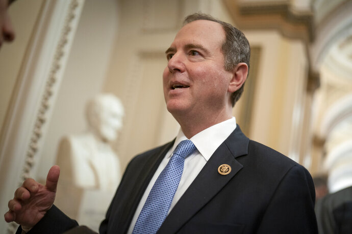 FILE - In this March 3, 2020, file photo House Intelligence Committee Chairman Adam Schiff, D-Calif., talks to reporters on Capitol Hill in Washington. Schiff said Tuesday, Sept. 29, that he will subpoena the Department of Homeland Security after a department whistleblower wasn't allowed access to documents and clearance he needs to testify. (AP Photo/J. Scott Applewhite, File)