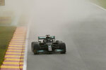 Mercedes driver Lewis Hamilton of Britain steers his car during qualification ahead of the Formula One Grand Prix at the Spa-Francorchamps racetrack in Spa, Belgium, Saturday, Aug. 28, 2021. The Belgian Formula One Grand Prix will take place on Sunday. (AP Photo/Francisco Seco)
