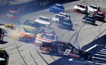 The cars of Tommy Joe Martins (8), John Hunter Nemechek (42) and Ty Mjeski (60) spin as they crash during a NASCAR Xfinity Series auto race on Saturday, April 14, 2018 in Bristol, Tenn. (AP Photo/Wade Payne)
