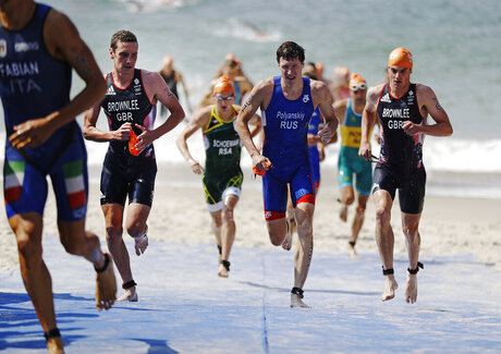 Alistair Brownlee, Dmitry Polyanskiy, Jonathan Brownlee