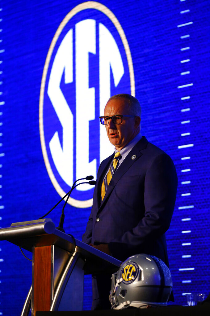 Southeastern Conference commissioner Greg Sankey speaks during the NCAA college football Southeastern Conference Media Days at the Hyatt Regency Birmingham-Wynfrey Hotel, Monday, July 15, 2019, in Hoover, Ala. (AP Photo/Butch Dill)