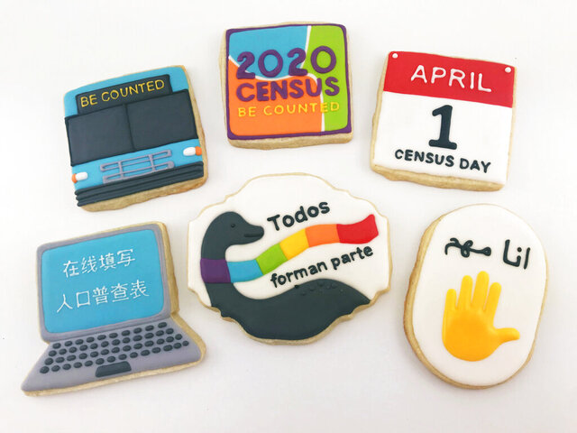 This undated photo provided by Jasmine Cho, who was supposed to lead cookie decorating activities at Census events in Pittsburgh in March and April, shows cookies she decorated with U.S. Census themes. The spread of the novel coronavirus has waylaid 2020 census outreach efforts that were planned in advance to get as many people as possible counted in the once-a-decade head count. (Jasmine Cho via AP)