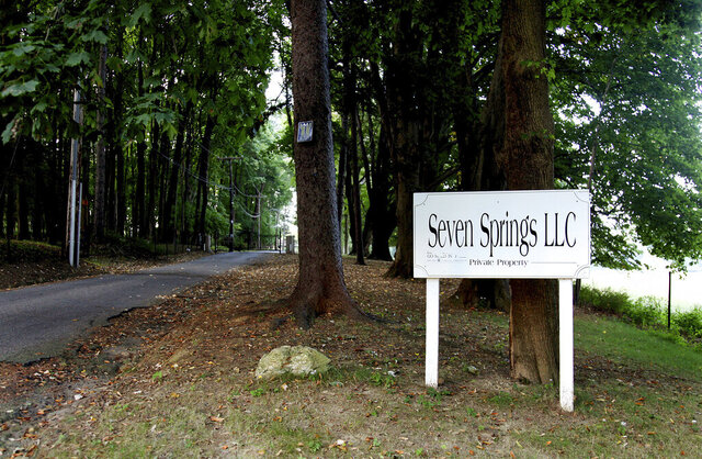 FILE - This photo from Sept. 23, 2009, shows the entrance to Seven Springs LLC, in Bedford, N.Y., a property owned by the Trump family. Judge Arthur Engoron said the Trump Organization must turn over to the New York attorney general's office all communications involving Ralph Mastromonaco, an engineer who worked at Seven Springs. (AP Photo/Craig Ruttle, File)