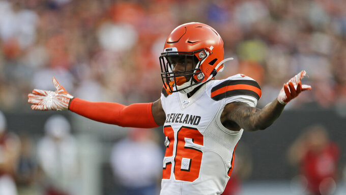 Cleveland Browns cornerback Greedy Williams reacts during the first half of the team's NFL preseason football game against the Washington Redskins, Thursday, Aug. 8, 2019, in Cleveland. (AP Photo/Ron Schwane)