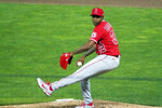 Los Angeles Angels relief pitcher Raisel Iglesias throws to a Minnesota Twins batter during the ninth inning of a baseball game Thursday, July 22, 2021, in Minneapolis. The Angels won 3-2. Iglesias picked up the save. (AP Photo/Jim Mone)