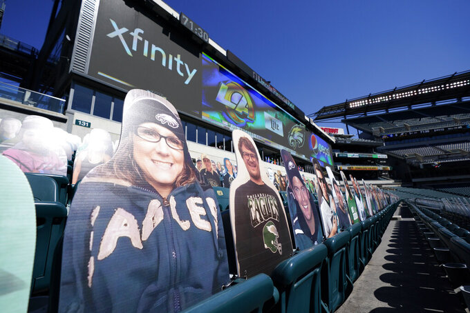 Fan cutouts are seen at Lincoln Financial Field before an NFL football game between the Philadelphia Eagles and the Los Angeles Rams, Sunday, Sept. 20, 2020, in Philadelphia. (AP Photo/Chris Szagola)