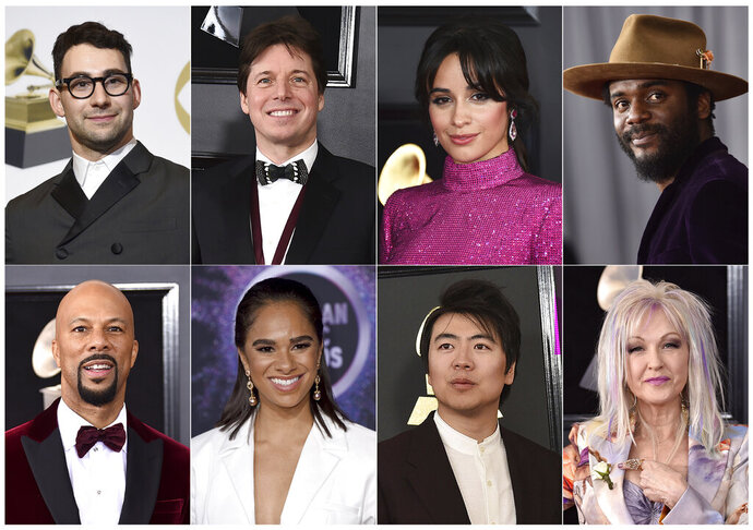 This combination of photos shows, top row from left, Jack Antonoff, Joshua Bell, Camila Cabello, Gary Clark Jr., bottom row from left, Common, ballerina Misty Copeland, Lang Land and Cyndi Lauper who will perform