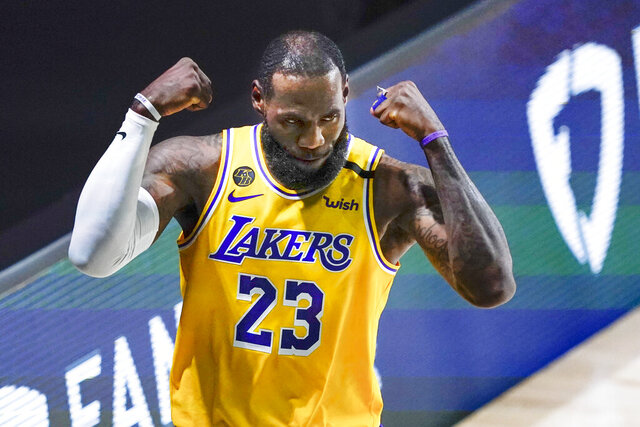 Los Angeles Lakers' LeBron James (23) reacts to a play against the Portland Trail Blazers during the first half of an NBA basketball first round playoff game Saturday, Aug. 29, 2020, in Lake Buena Vista, Fla. (AP Photo/Ashley Landis)
