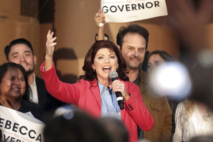 FILE - In this Sept. 9, 2021, file photo, former Wisconsin Lt. Gov. Rebecca Kleefisch announces her candidacy for office of Governor at Western States Envelope Company in Butler, Wis. A new political action committee headed by a longtime Republican operative has formed to help Kleefisch win the governor's race. Stephan Thompson, who previously served as head of the Wisconsin Republican Party and ran Gov. Scott Walker's 2014 reelection campaign, announced Thursday, Sept. 16, 2021 that he will lead the new group known as Freedom Wisconsin.(John Hart/Wisconsin State Journal via AP, File)
