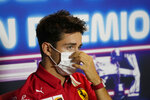 Ferrari driver Charles Leclerc of Monaco attends a press conference ahead of Sunday's Italian Formula One Grand Prix, at the Monza racetrack, in Monza, Italy, Thursday, Sept. 9, 2021. (AP Photo/Luca Bruno, Pool)