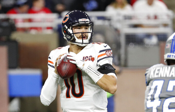 Chicago Bears quarterback Mitchell Trubisky throws during the first half of an NFL football game against the Detroit Lions, Thursday, Nov. 28, 2019, in Detroit. (AP Photo/Rick Osentoski)