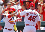 St. Louis Cardinals' Paul Goldschmidt, right, is congratulated by teammate Kolten Wong, left, after scoring during the first inning of a baseball game against the Arizona Diamondbacks Sunday, July 14, 2019, in St. Louis. (AP Photo/Jeff Roberson)
