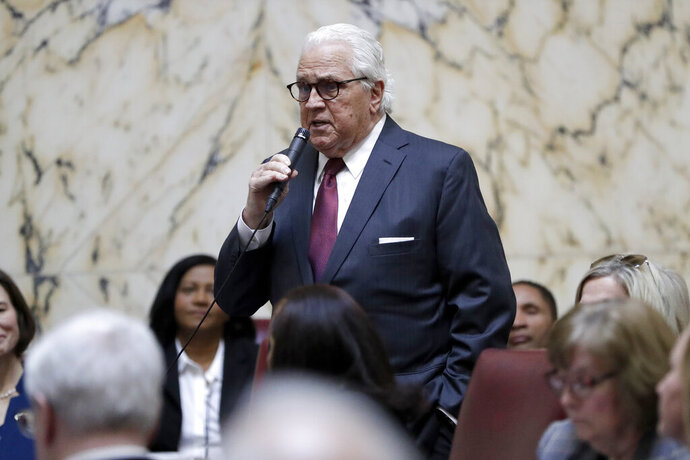 Former Maryland Senate President Thomas V. Mike Miller speaks while nominating Bill Ferguson as the new president during the first day of the state's 2020 legislative session, Wednesday, Jan. 8, 2020, in Annapolis, Md. (AP Photo/Julio Cortez)