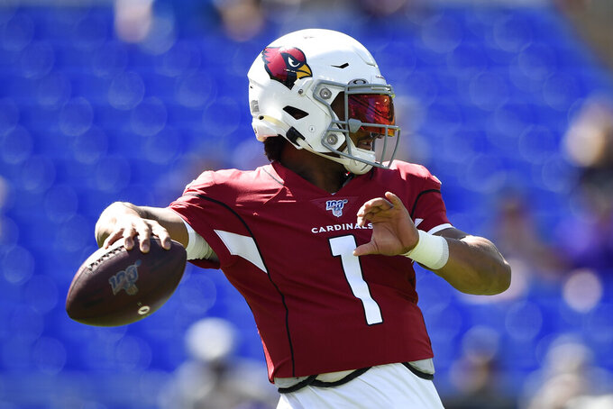 Arizona Cardinals quarterback Kyler Murray warms up before an NFL football game against the Baltimore Ravens, Sunday, Sept. 15, 2019, in Baltimore. (AP Photo/Gail Burton)