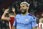 FILE - In this Tuesday, Jan. 21, 2020 file photo, Manchester City's Sergio Aguero smiles during the English Premier League soccer match between Sheffield United and Manchester City at Bramall Lane in Sheffield, England. Sergio Aguero has been using some of his spare time in lockdown to teach British kids how to speak Spanish. The Argentina international has been signed up by the BBC as part of its home-schooling initiative while educational establishments are closed during the coronavirus pandemic. (AP Photo/Rui Vieira, File)