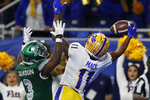 Pittsburgh wide receiver Taysir Mack (11), defended by Eastern Michigan defensive back Vince Calhoun (3), catches the go-ahead and eventual game-winning touchdown in the final minute of the Quick Lane Bowl NCAA college football game, Thursday, Dec. 26, 2019, in Detroit. Pittsburgh won 34-30. (AP Photo/Carlos Osorio)