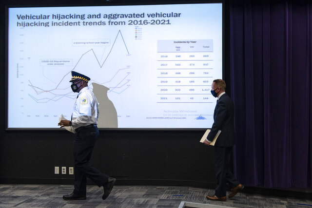 Chicago Police Superintendent David Brown, left, followed by Chief of Detectives Brendan Deenihan walk up to the podium to address reporters on the rise in carjackings in Chicago and surrounding communities at Chicago Police Headquarters, Thursday, Jan. 21, 2021. (Tyler LaRiviere/Chicago Sun-Times via AP)