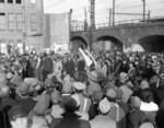 FILE - In this Dec. 16, 1945, file photo, a crowd gathers at Shimbashi railroad station in Tokyo for a hunger demonstration by residents of the city. The bombs stopped falling 75 years ago, but it is entirely possible - crucial even, some argue - to view the region's world-beating economies, its massive cultural and political reach and its bitter trade, territory and history disputes all through a single prism: Japan's aggression in the Pacific during World War II. (AP Photo/JW, File)