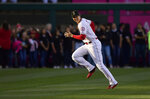 Los Angeles Angels' Shohei Ohtani, of Japan, warms up prior to the team's baseball game against the Kansas City Royals on Friday, May 17, 2019, in Anaheim, Calif. (AP Photo/Mark J. Terrill)