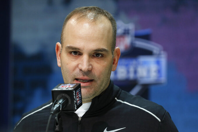 FILE - In this Feb. 25, 2020, file photo, Jacksonville Jaguars general manager David Caldwell speaks during a news conference at the NFL football scouting combine in Indianapolis. The Jaguars fired Caldwell on Sunday, Nov. 29, 2020, after the team's 10th consecutive loss. (AP Photo/Charlie Neibergall, File)