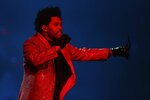 The Weeknd performs during the halftime show at the NFL Super Bowl 55 football game between the Kansas City Chiefs and Tampa Bay Buccaneers, Sunday, Feb. 7, 2021, in Tampa, Fla. (AP Photo/Mark LoMoglio)
