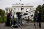 NBC reporter Peter Alexander stands outside of the West Wing of the White House, Thursday, April 18, 2019, in Washington. (AP Photo/Andrew Harnik)