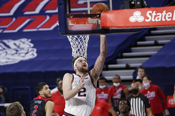 Gonzaga forward Drew Timme shoots during the first half of the team's NCAA college basketball game against Loyola Marymount in Spokane, Wash., Saturday, Feb. 27, 2021. (AP Photo/Young Kwak)