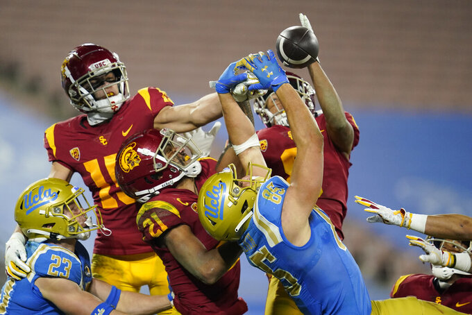 UCLA tight end Greg Dulcich (85) fails to catch a pass in the end zone, securing a Southern California win during the fourth quarter of an NCAA college football game Saturday, Dec 12, 2020, in Pasadena, Calif. (AP Photo/Ashley Landis)