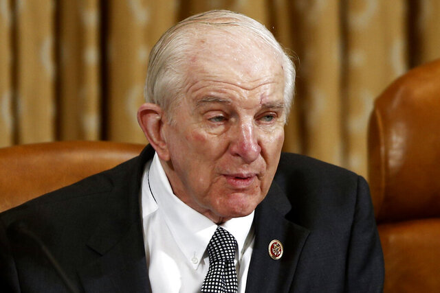 FILE - In this June 4, 2013, file photo, Rep. Sam Johnson, R-Texas, speaks on Capitol Hill in Washington. Former Texas Rep. Johnson, a military pilot who spent years at a prisoner of war in Vietnam before serving more than two decades in Congress, died Wednesday, May 27, 2020, at age 89. (AP Photo/Charles Dharapak, File)