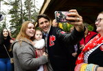 Canadian Prime Minister Justin Trudeau makes a campaign stop at Mill Creek Nature Park in Riverview, New Brunswick, on Tuesday Oct. 15, 2019. (Sean Kilpatrick/The Canadian Press via AP)