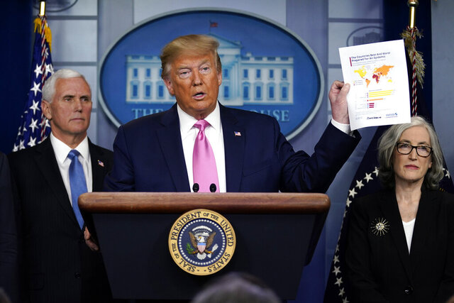 President Donald Trump, with members of the President's Coronavirus Task Force, holds a paper about countries best and least prepared to deal with a pandemic, during a news conference in the Brady Press Briefing Room of the White House, Wednesday, Feb. 26, 2020, in Washington. (AP Photo/Evan Vucci)