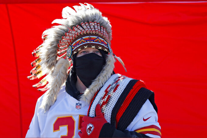 A fan is seen outside Arrowhead Stadium before the NFL AFC Championship football game between the Kansas City Chiefs and the Tennessee Titans Sunday, Jan. 19, 2020, in Kansas City, MO. (AP Photo/Jeff Roberson)
