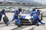 Chase Briscoe (98) makes a pit stop during a NASCAR Xfinity Series auto race Sunday, June 14, 2020, in Homestead, Fla. (AP Photo/Wilfredo Lee)